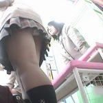 【パンチラ盗撮動画】プリクラ機で並んでるふりして中の制服女子高生達の可愛らしい姿をパンティと同時撮りしたw