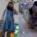 【盗撮動画】ママとまだ小さな弟君と買い物に来ていた清純美少女のパンチラを心おきなく逆さ撮りwww