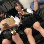 【HD盗撮動画】電車で見かけた仲よし二人組の制服女子校生をストーキングしてパンチラ撮影!