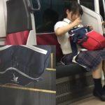 【盗撮動画】もう快感!!!処女そうな制服女子のリュックに精子ブッカケ!何も知らずに臭いを嗅いでくれたwww