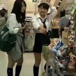 【盗撮動画】可愛い系と美形の制服美少女二人組!JC中◯生の放課後に粘着してパンチラ捕獲www
