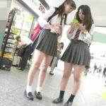 【盗撮動画】商店街で制服美少女二人組発見!緊迫のストーカーしながらパンチラ隠し撮り!!